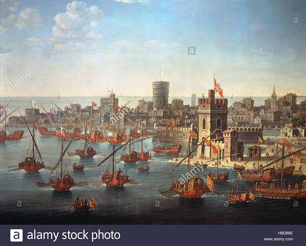 anonimi-del-xvi-secolo-il-doge-di-venezia-bartolomeo-gradenigo-con-la-flotta-veneziana-del-secolo-di-chioggia-1379-h9d66e