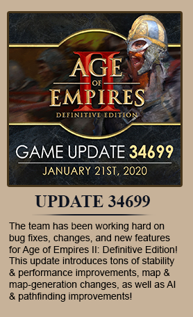 The team has been working hard on bug fixes, changes, and new features for Age of Empires II: Definitive Edition! This update introduces tons of stability and performance improvements, map and map-generation changes, as well as AI and pathfinding improvements!